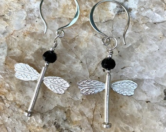 ZenHappy Dragonfly Earrings with Freshwater Pearls or Black Spinel Accents on Sterling Silver Wires