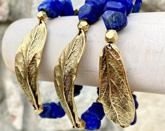 ZenHappy Matte Lapis Lazuli Gold Leaf/Feather Bracelets