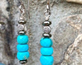 """ZenHappy """"Sleeping Beauty"""" Turquoise Earrings with Sterling Evil-Eye Accents on Sterling Silver Wires"""