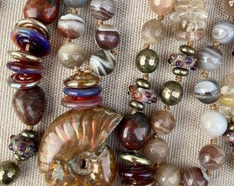 ZenHappy Heirloom Mala Bead Necklace with Soft Deerskin Tassel - Ammonite Focal, Gemstones and Handmade Lampwork Beads; Boho Necklace