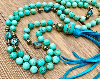 ZenHappy Turquoise Gemstone Mala Bead Necklace with Pyrite, Handmade Lampwork Focal and Leather Tassel; 108 Beads