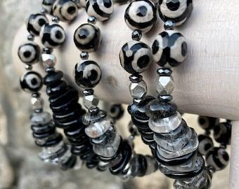 ZenHappy 8mm Evil Eye Gemstone Mala Bracelet with Rutile Quartz or Sardonyx Accents
