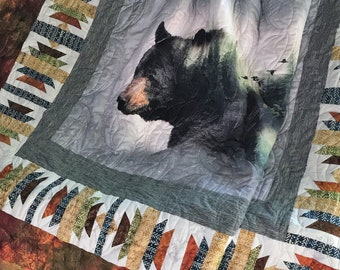 Black Bear Panel in Natural Habitat-Hoffman Fabrics-Digital Print