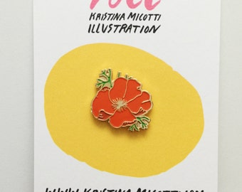 California Poppy Lapel Pin
