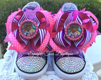 b0c285ac8698 DOC MCSTUFFINS SHOES - Doc Mcstuffins Costume - Doc Mcstuffins Party - Doc  Mcstuffins Birthday - Bling Converse - Infant Toddler Youth