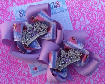 SOFIA THE FIRST Bows - Princess Sofia - Pigtail bows - Princess bow - Shoe toppers - Sofia the first Birthday