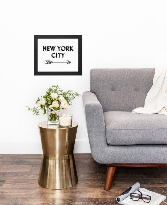 Black White New York City Arrow Typography Original Modern | Etsy
