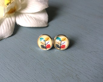 Ceramic Decal African Shield Earring Charms #24