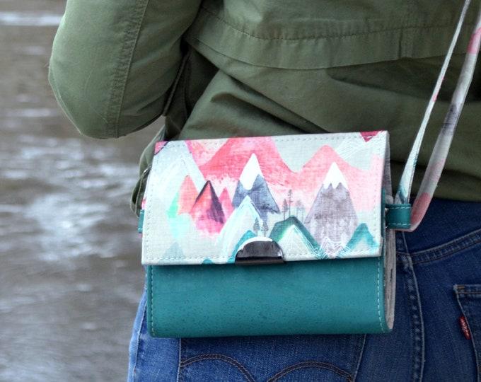 READY TO SHIP Bag, purse, geometric whale cotton purse. Cork leather base, Vegan, eco-friendly