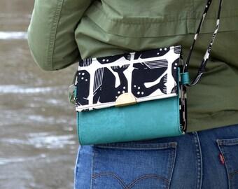 ORDER Bag, purse, geometric whale cotton purse. Cork leather base, Vegan, eco-friendly