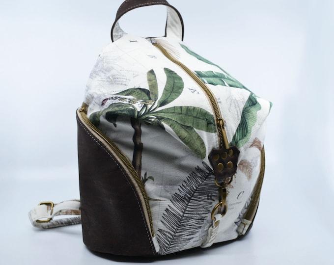 Bag, palm tree horse cotton purse. Cork leather base, Vegan, eco-friendly