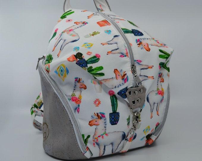 Bag, vintage alpaca cotton purse. Cork leather base, Vegan, eco-friendly