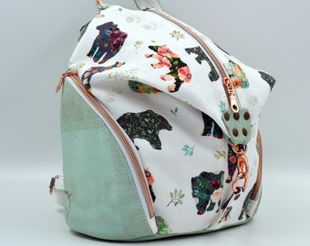 COMMANDE Bag in flowered cotton and bear-patterned and mint cork. Backpack, Cork leather base, Vegan, eco-friendly