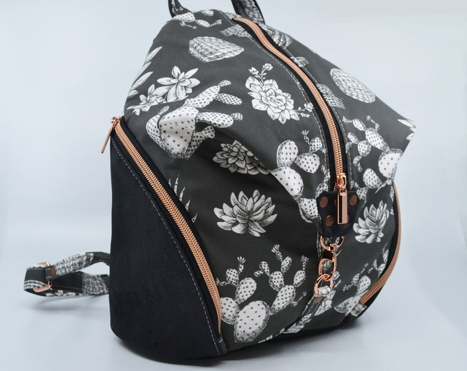 Bag, flower cotton purse. Cork leather base, Vegan, eco-friendly