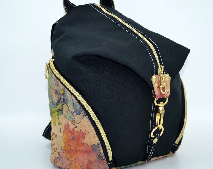 READY TO GO Bag in black montana and natural cork with watercolor flower patterns. Backpack, Cork leather base, Vegan, eco-friendly