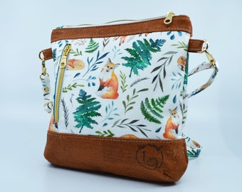 COMMANDE Cotton bag with fox and leaf motifs. Cork leather base, Vegan, eco-friendly