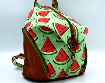 COMMANDE Green cotton bag with watermelon motifs and cognac cork. Backpack, Cork leather base, Vegan, eco-friendly