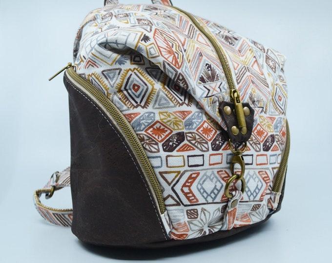 Bag, vintage cotton purse. Cork leather base, Vegan, eco-friendly