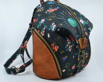 SEE TO DE Cotton bag with spatial theme and flowers, cognac cork. Backpack, Cork leather base, Vegan, eco-friendly