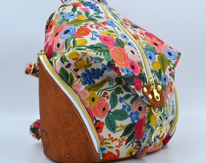 Bag, cactus vintage cotton purse. Cork leather base, Vegan, eco-friendly