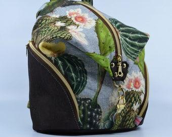 Bag, vintage cactus pattern purse. Cork leather base, Vegan, eco-friendly