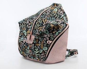 Bag, purse in pink, gold and green floral cotton. Cork leather base, Vegan, eco-friendly