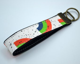 Cork rainbow-patterned cotton keyring, keyring, kit, strap