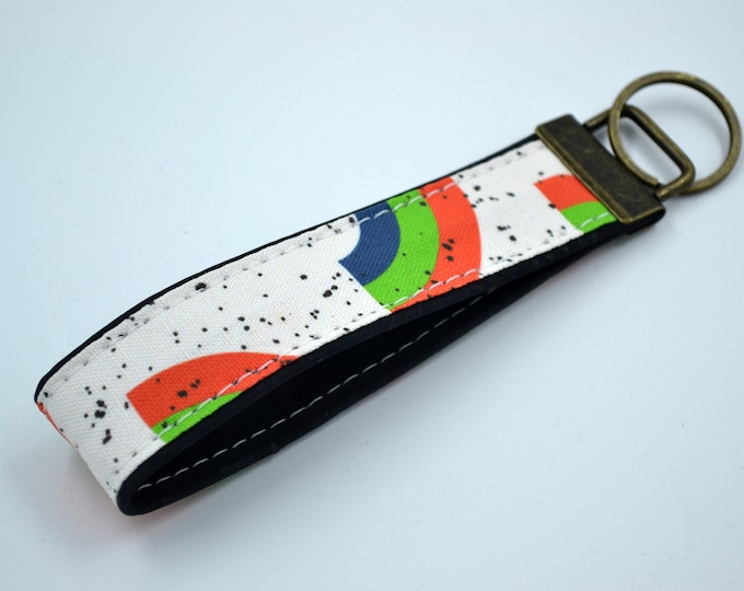 Cork rainbow-patterned cotton keyring, keyring, kit, strap