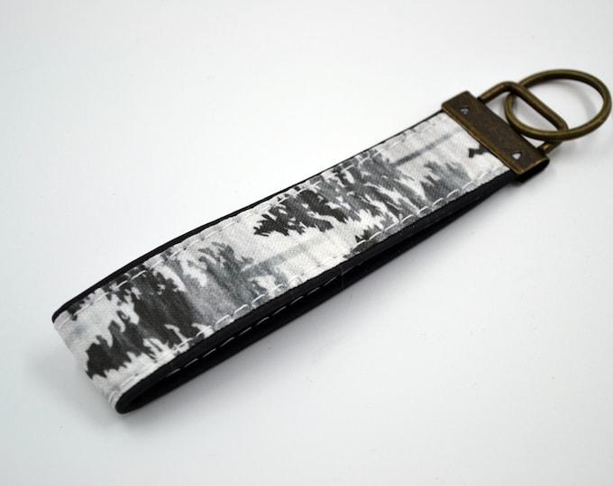 Black and grey black cork patterned cotton keyring, keyring, kit, strap