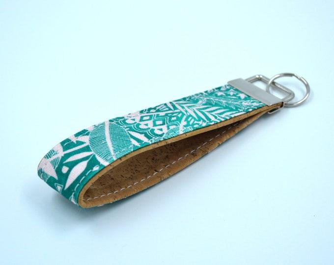 Cork leaf patterned cotton keyring, keyring, kit, strap