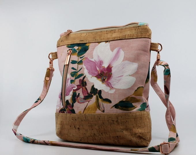 Bag, purse in pink, green and yellow floral cotton. Cork leather base, Vegan, eco-friendly