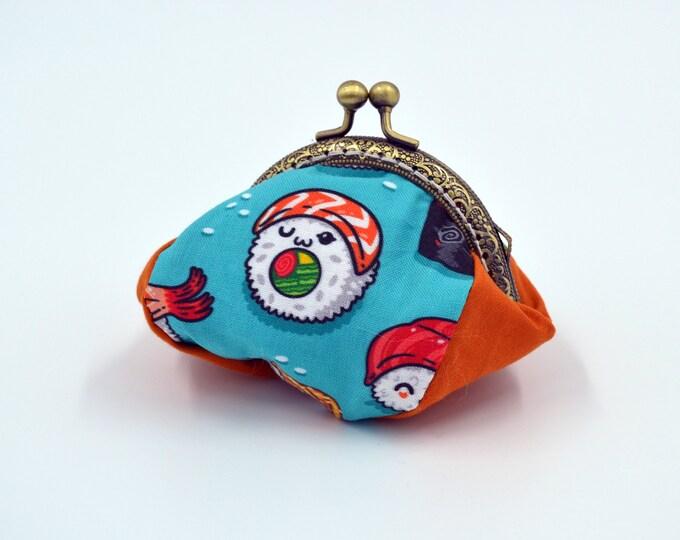 Vintage fox change purse 100% cotton with metal claps – coin purse – change purse – kisslock purse – money wallet