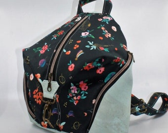 COMMANDE Cotton bag with spatial theme and flowers, cognac cork. Backpack, Cork leather base, Vegan, eco-friendly