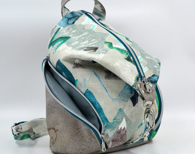 TO DE TO DE Cotton bag with a mountain motif and grey cork. Backpack, Cork leather base, Vegan, eco-friendly
