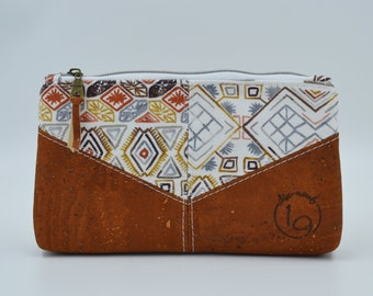 Cosmetic kit, pencil cases, fabric pouch with aztheca patterns and cognac cork