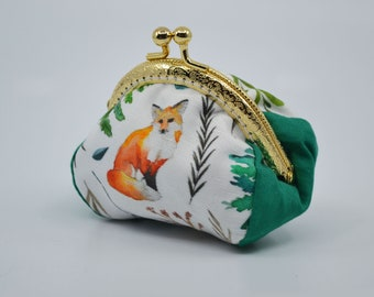 Fox-patterned cotton coin holder, gold metal clasp, silver purse, clutch