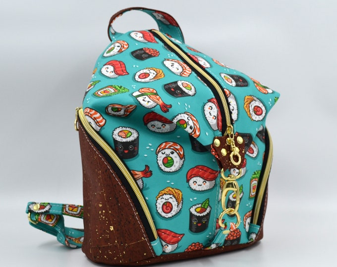 PLEASE TO DE Cotton bag with sushi pattern and gold brick red cork. Backpack, Cork leather base, Vegan, eco-friendly