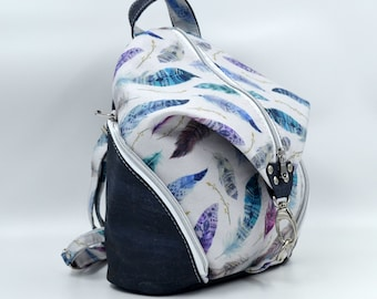 PLEASE TO DE Bag in cotton with a feather pattern and charcoal grey cork. Backpack, Cork leather base, Vegan, eco-friendly