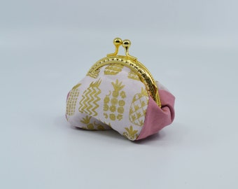 Pineapple-patterned cotton coin holder, gold metal clasp, silver purse, clutch