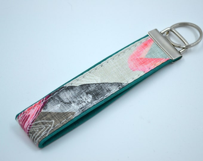 Grey, pink and green cotton keyring with grey or turquoise cork, key ring, kit, strap