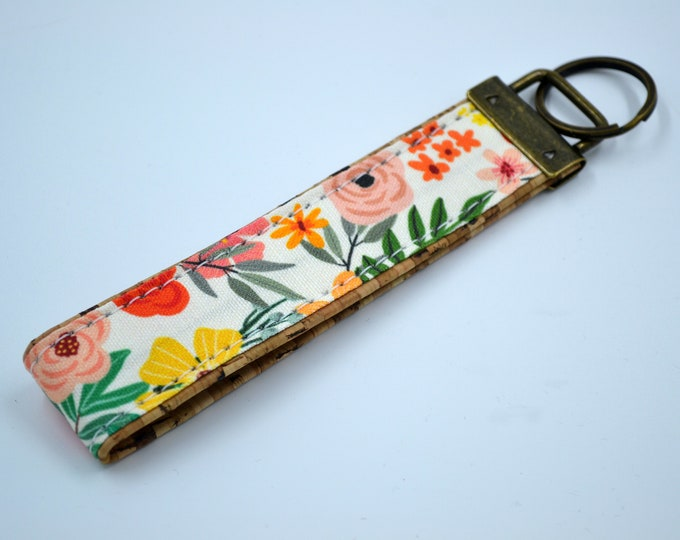 Cotton keyring with pink, yellow and red flowers with natural cork, keyring, kit, strap
