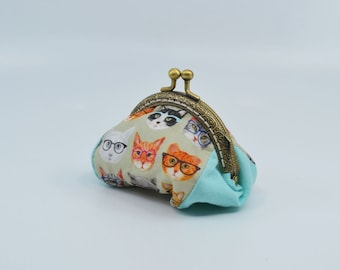 Vintage cat change purse 100% cotton with metal claps – coin purse – change purse – kisslock purse – money wallet
