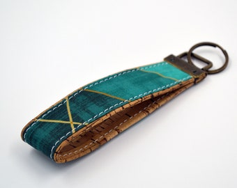 Cotton keyring with emerald and gold triangle patterns, keyring, kit, strap