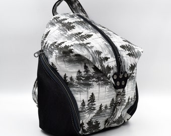 Bag,waked cotton purse. Cork leather base, Vegan, eco-friendly