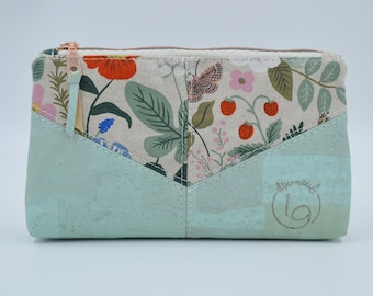 Cosmetic kit, pencil cases, cream fabric pouch with different coloured flowers and mint cork