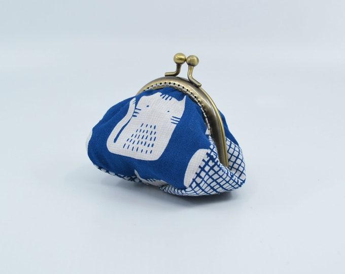 Vintage cat change purse 100% cotton with metal claps – coin purse – change purse – kisslock purse – money wallet