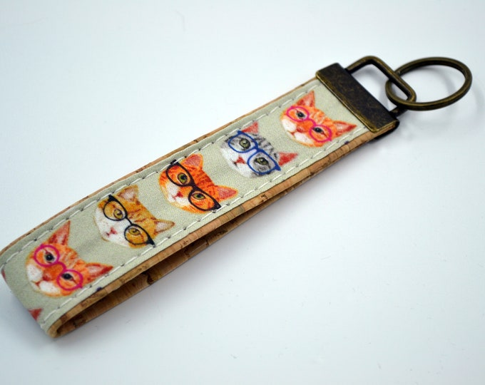 Black, grey, white and red cat patterned cotton keyring in cork, key ring, kit, strap