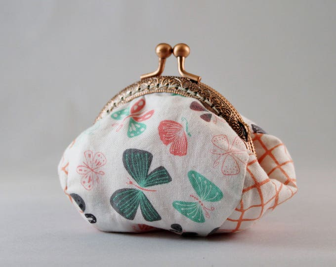 Butterfly change purse 100% cotton with metal claps – coin purse – change purse – kisslock purse – money wallet
