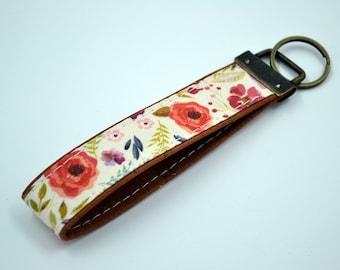 Cotton keyring with pink, purple, cognac or natural cork-like lipstick, keyring, kit, strap