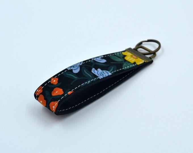 Black cotton keyring with floral patterns and black cork, keyring, kit, strap